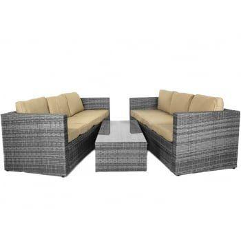 Hokku Designs Algarve 6 Seater Rattan Sofa Set Sofa Set Large Sofa Rattan Sofa