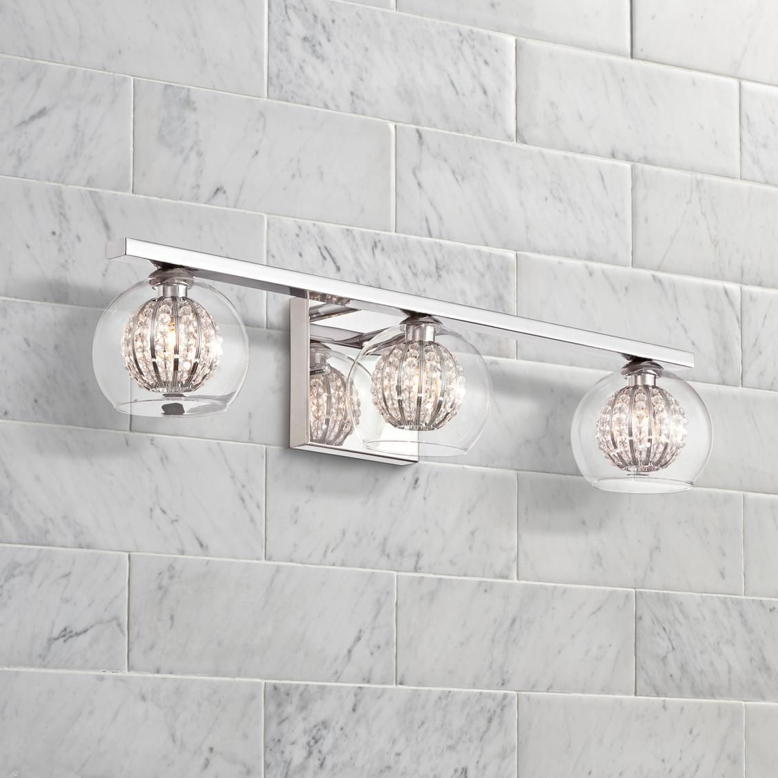 Possini Euro Onida 23 1 4 Wide Crystal Glass Bath Light 3v953