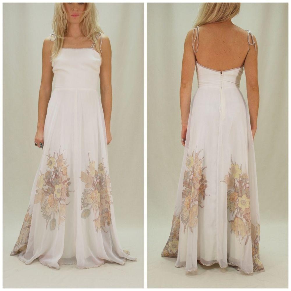 Vintage Long White Floaty Maxi Bridal PROM Satin Dress Floral ...