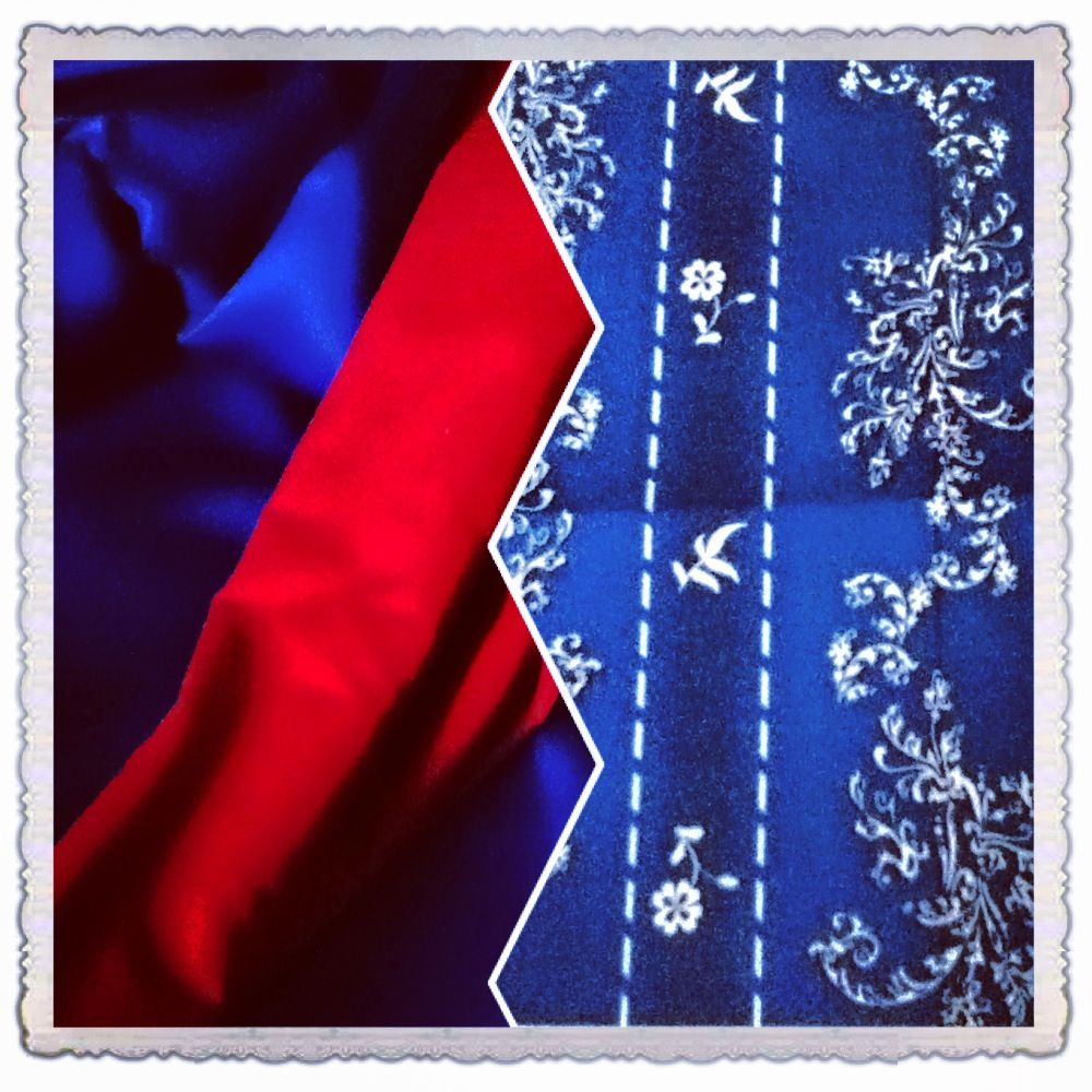 Fabrics for wishing gown cloak (left) and swatch of dress fabric I plan to use. 2014