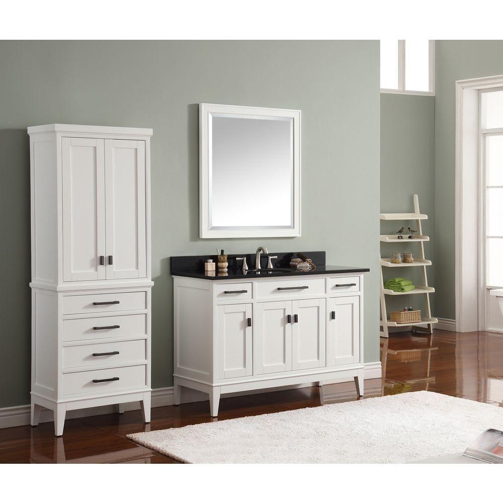 Avanity Madison 36 in. W x 32 in. H Single Framed Mirror in White ...
