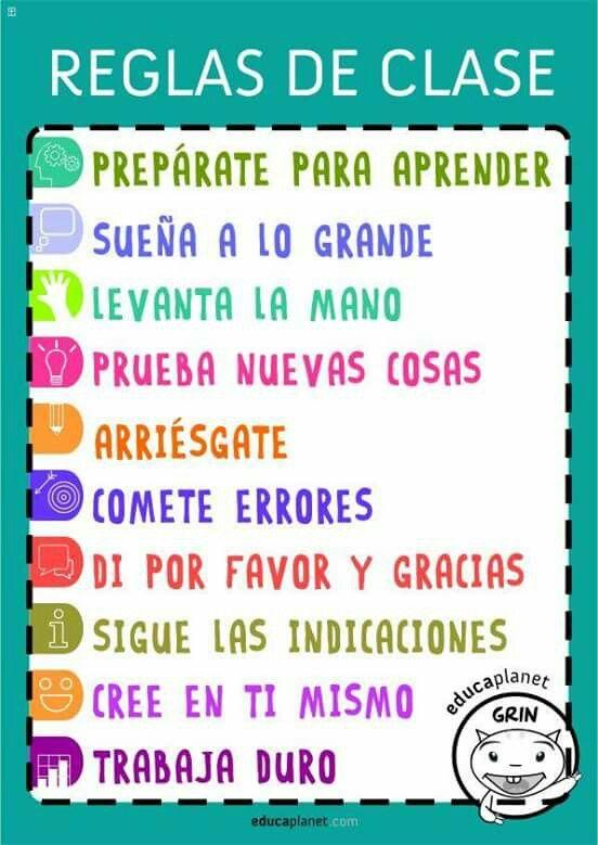 Reglas del sal n frases cheveres positivas pinterest for 10 reglas del salon de clases en ingles