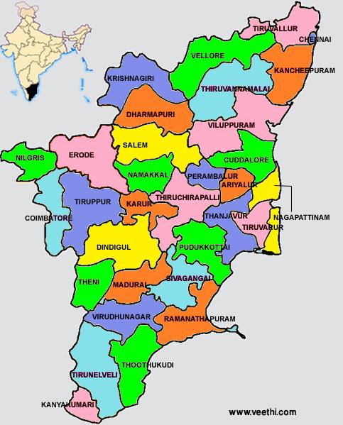 Tamil Nadu Districts Map India map, Tourist map, Tamil nadu