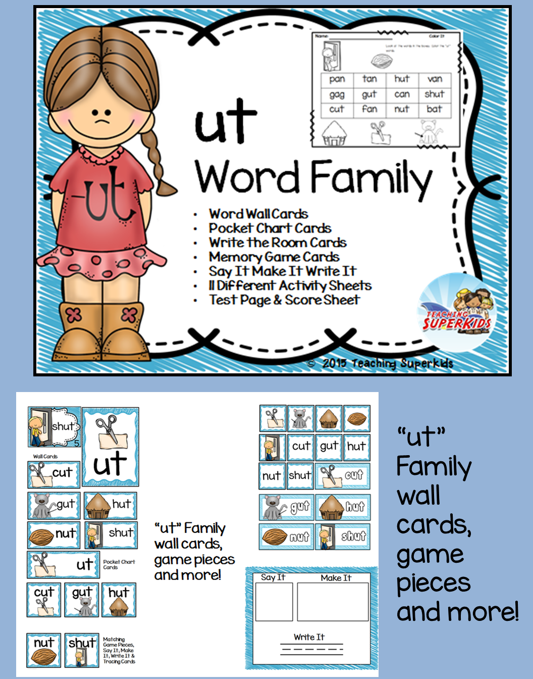 Ut Word Family Phonics Pack
