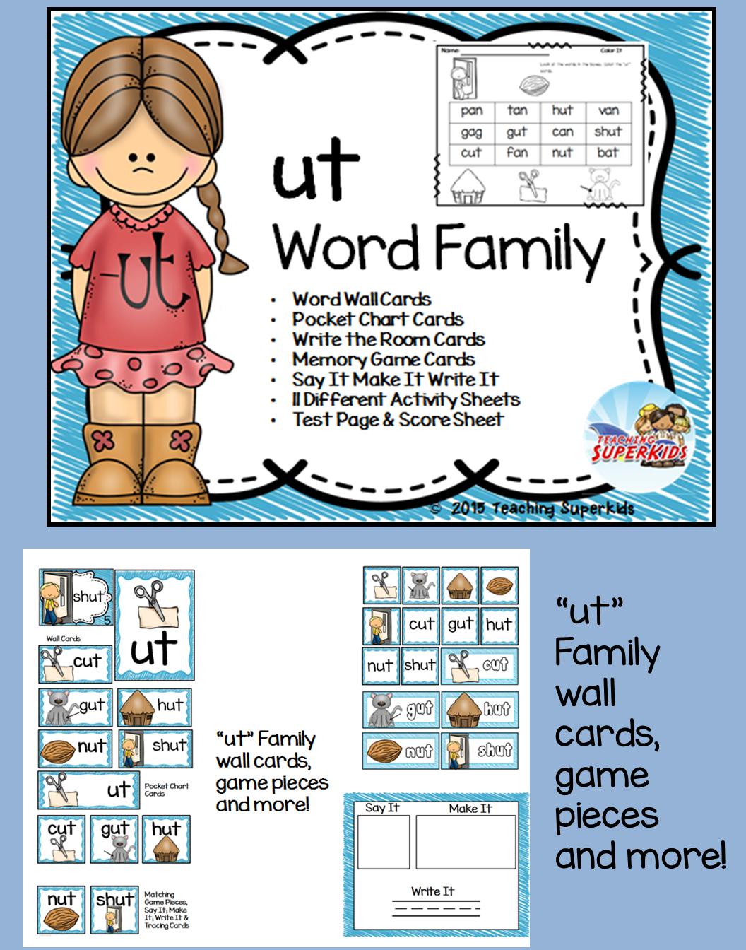 Ut Word Family Phonics Pack