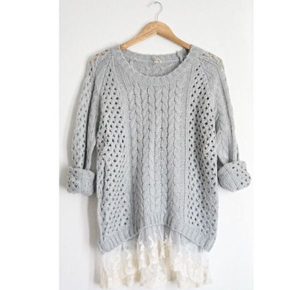 Grey knit lace sweater Women's size medium. Long sleeved comfy warm grey knit sweater with lace detail at the bottom :) perfect for this winter weather! ⛄one of my fave sweaters, selling because I need  birthday money :( American Eagle Outfitters Sweaters