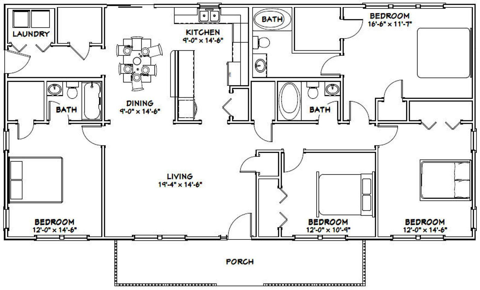 60x30 house 4bedroom 3bath 1800 sq ft pdf floor  etsy