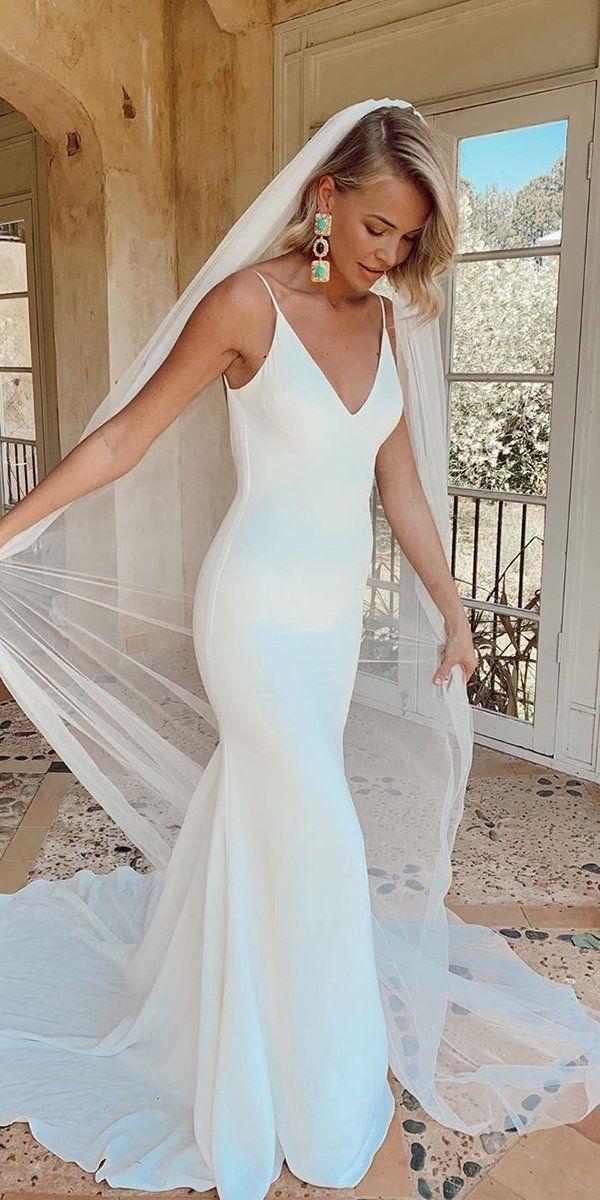 27 Best Wedding Dresses For Celebration | Wedding Forward -  Hottest Wedding Dresses Collections for 2020/2021 ❤ best wedding dresses simple sheath with spagh - #Celebration #cuteweddingdress #Dresses #pandoracharms #pandorarings #wedding #weddingbride