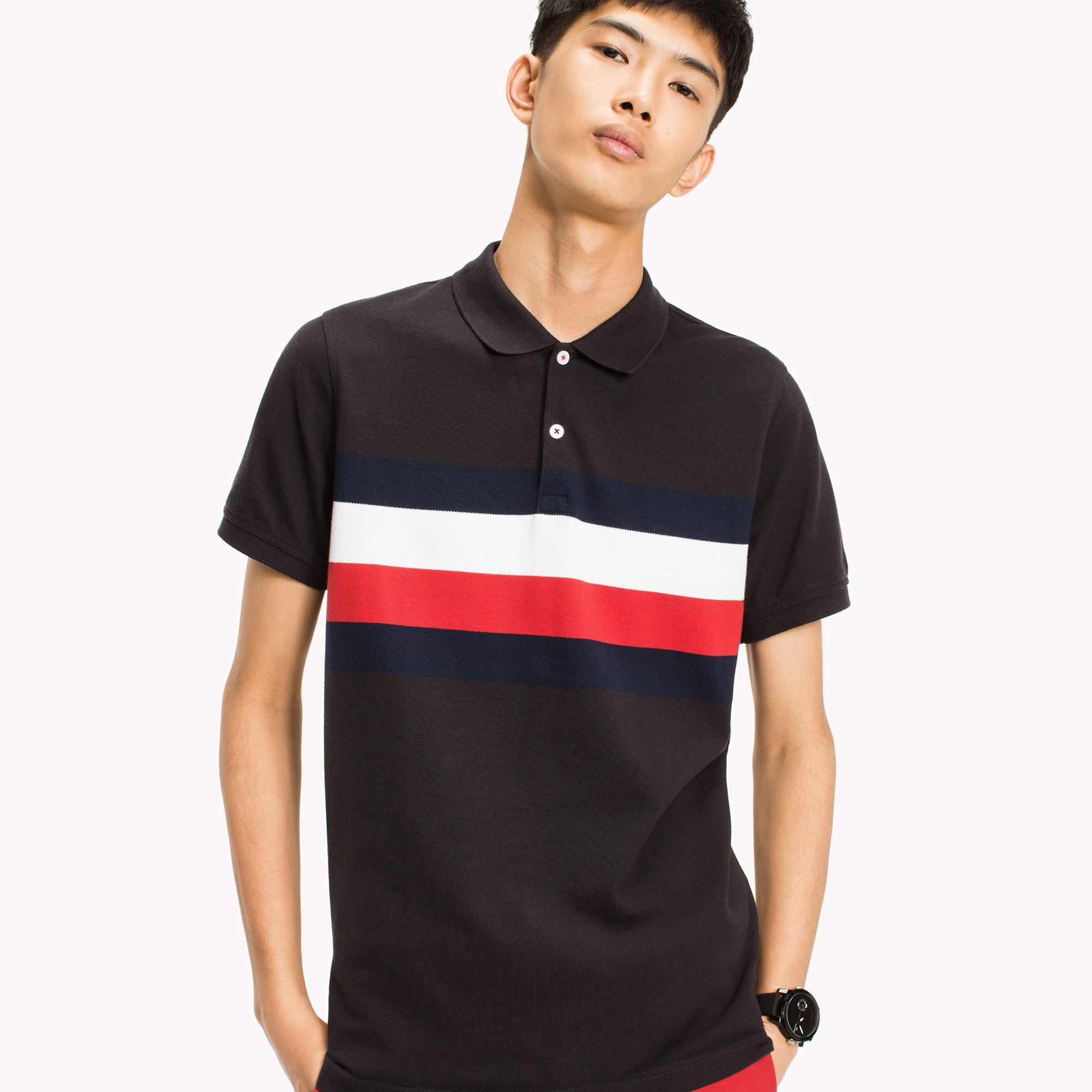 c9a5f87ef Chest Stripe Slim Fit Polo by Tommy Hilfiger | Products | Tommy hilfiger