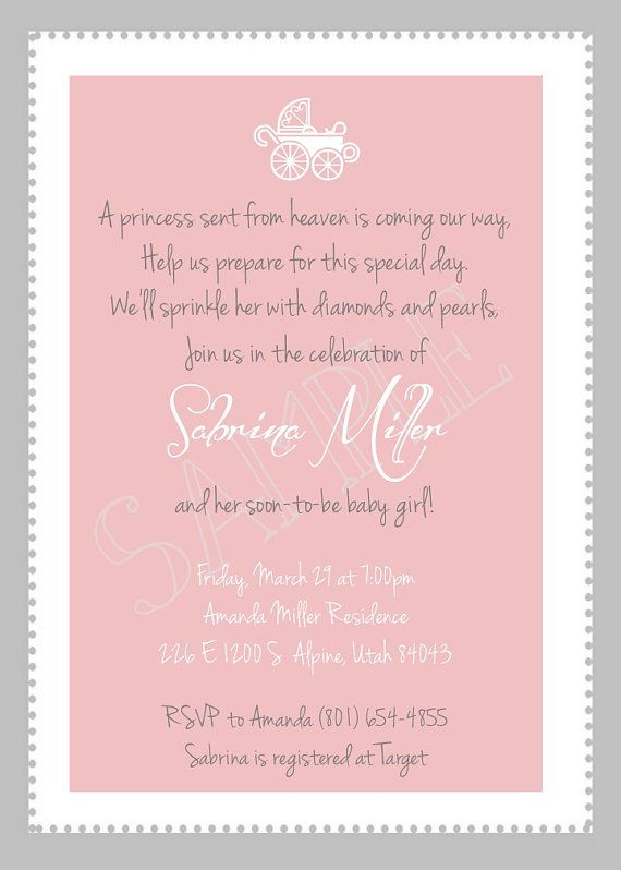 Custom Classy Baby Girl Shower Invitation available on Etsy! Print right from your home, take them to a printer, or simply email them to your baby shower attenders!