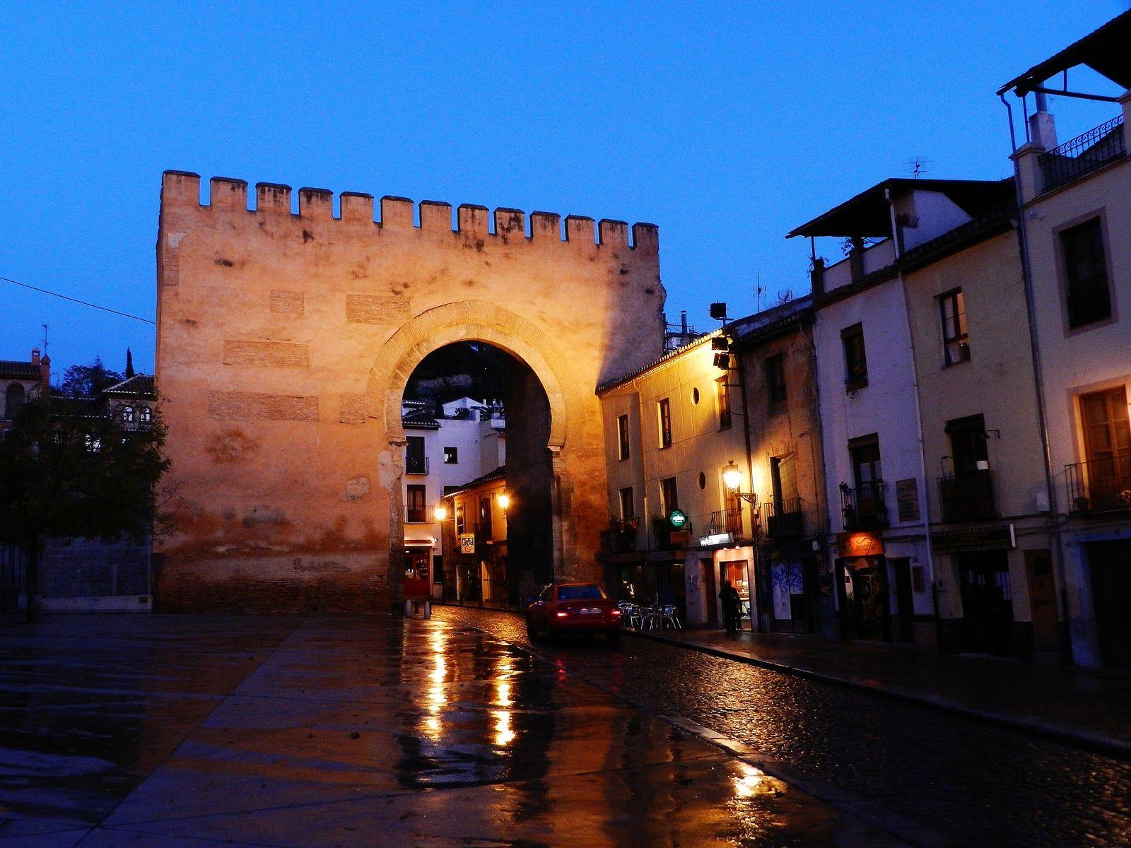 Puerta de Elvira, Plaza del Triunfo. Granada, Spain.
