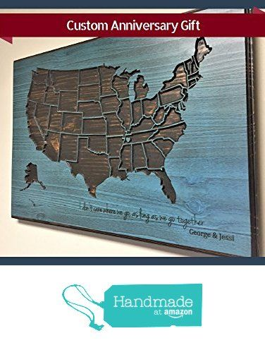 Anniversary Gift Custom Quote Wooden US Map Home Wall Decor - Us map pictures of couple
