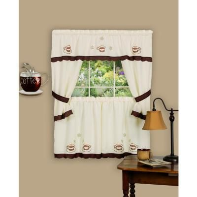 Achim Sheer Cuppa Joe 36 In L Embellished Cottage Window Curtain Set In Brown Cottage Curtains Kitchen Curtain