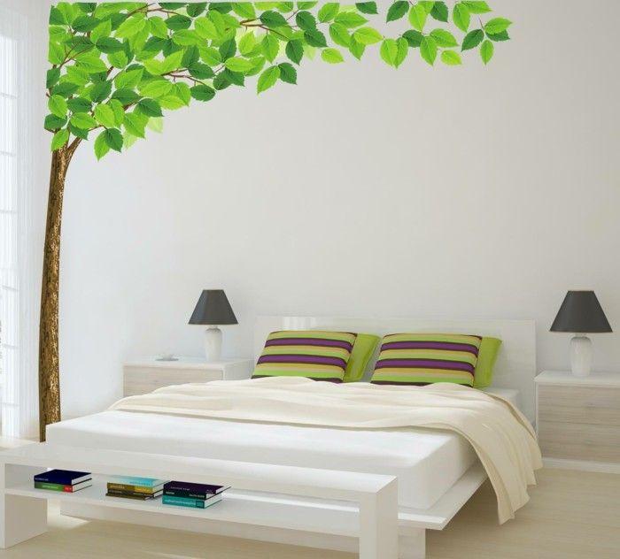 wandtattoos baum wohnideen schlafzimmer wanddeko Wandgestaltung