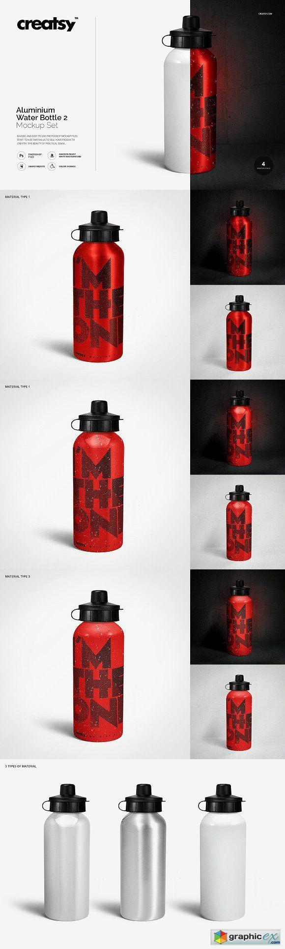 a44a14ae378fe Aluminium Water Bottle 2 Mockup Set | Mockup | Aluminum water ...