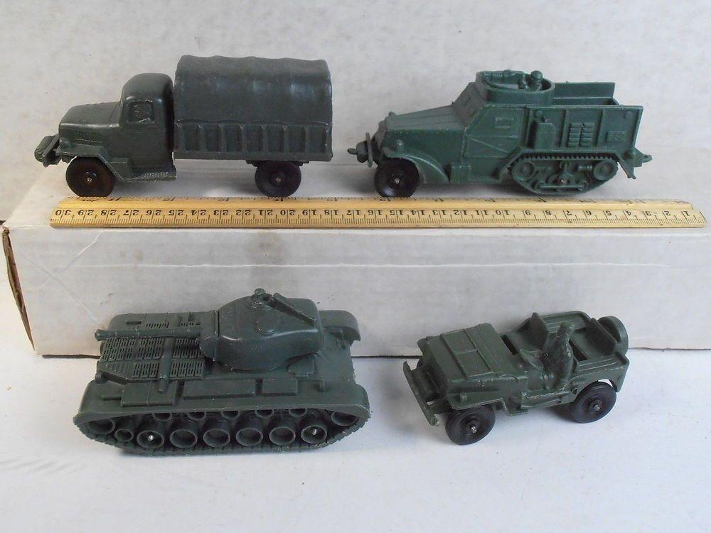 Auburn Rubber Toy Soldier 4 Army Vehicle Vinyl Halftrack