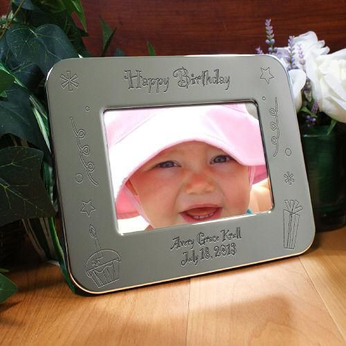 Personalized Engraved Happy Birthday Silver Picture Frame Silver