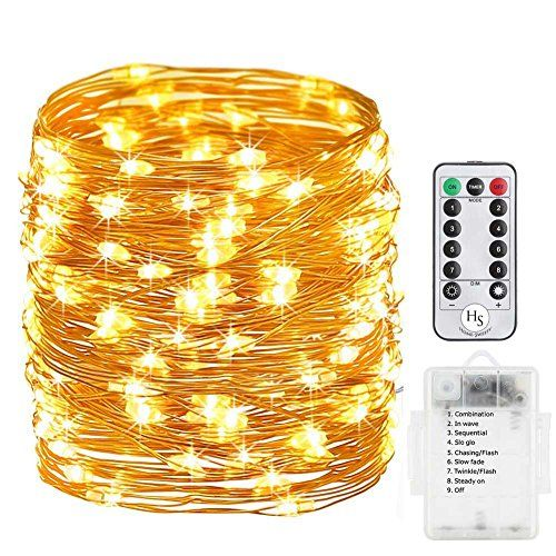 Battery Operated String Lights Homesweety 33ft 100 Led Dimmable With Remote Control For Outdoor Bedroom Patio Christmas Wedding Waterproof