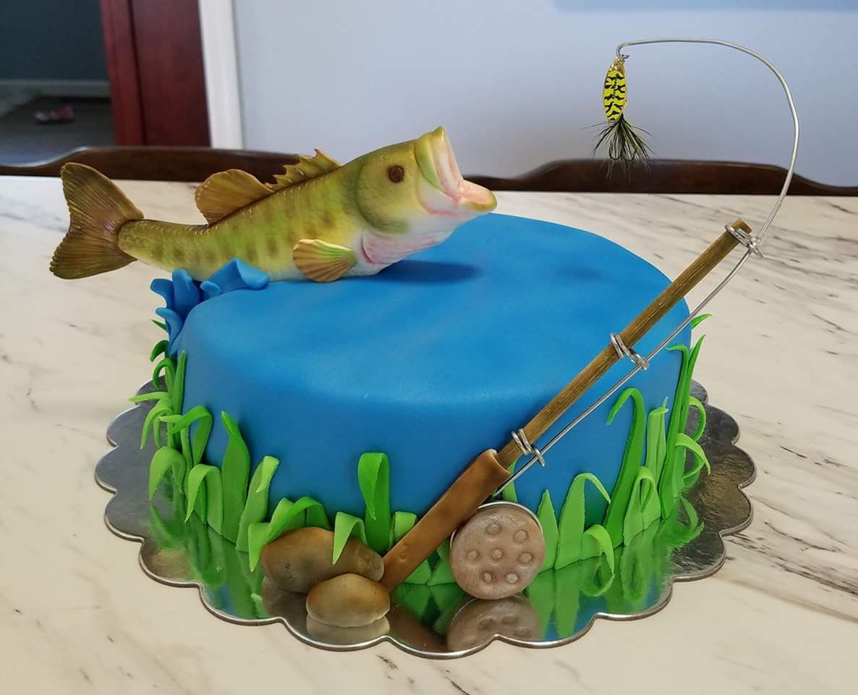 Fishing cake piece of cakes fish cake cake decorating