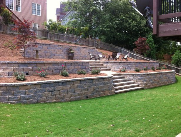 Retaining walls add style to a home   Backyard retaining ...