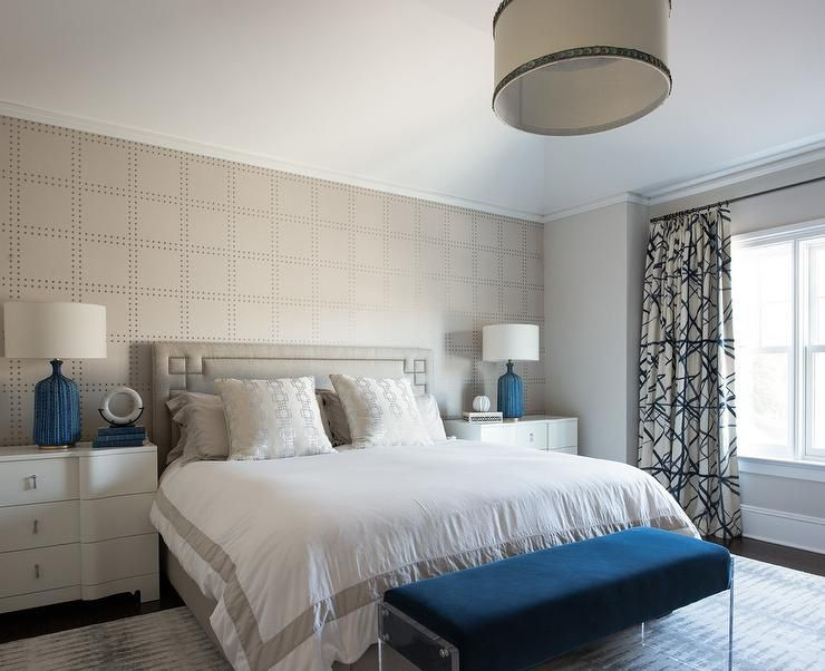 Restful Contemporary Gray And Blue Bedroom Is Furnished