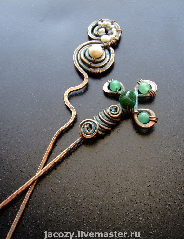 Barrettes handmade.  Fair Masters - handmade copper hairpins.  Handmade.