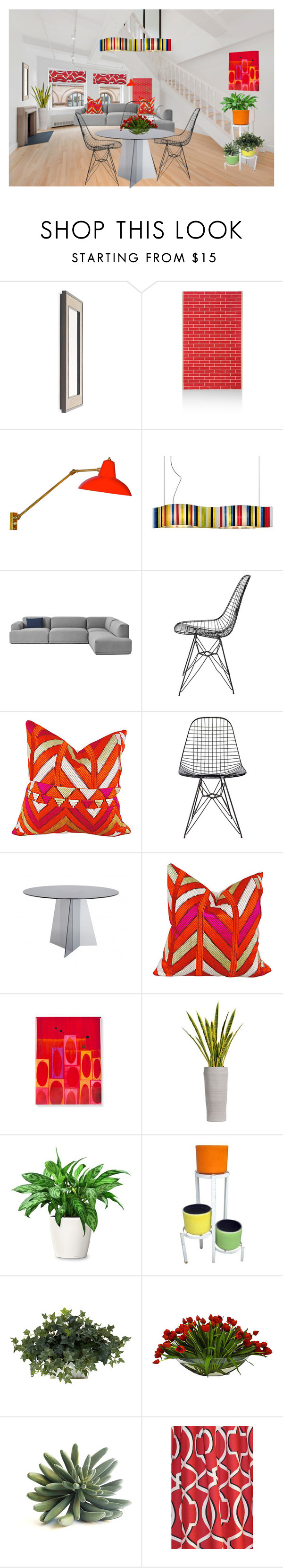 """Bright and bold"" by shistyle ❤ liked on Polyvore featuring interior, interiors, interior design, home, home decor, interior decorating, Mitchell Gold + Bob Williams, Herman Miller, Stilnovo and Arturo Alvarez"
