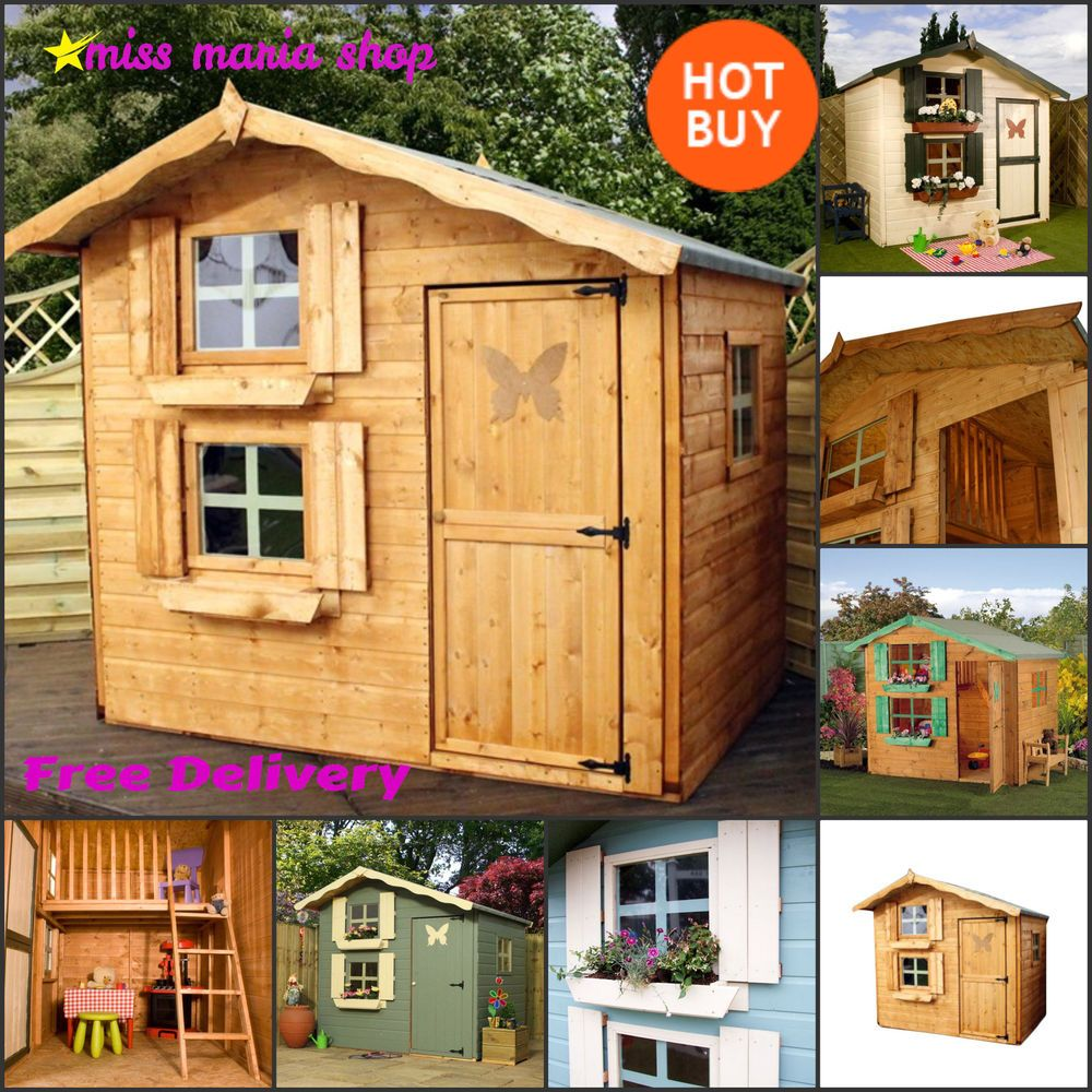 Playhouse two storey wendy play house upstairs large for Wooden wendy house ideas