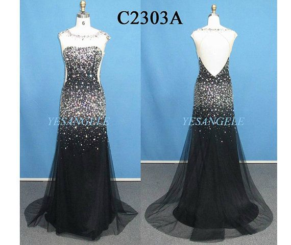 Stunning Black Beading Mermaid Open Back Long Satin Evening Dress for Summer
