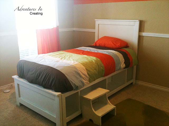 Adventures In Creating: Big Boy Bed | Diy twin bed, Boys bedding