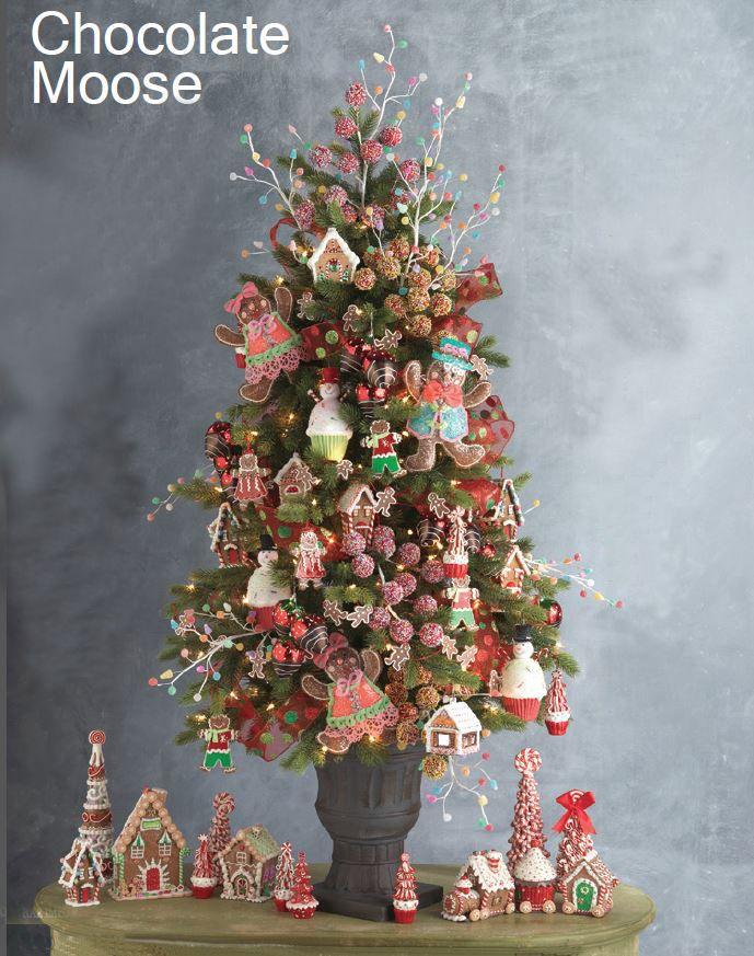 RAZ Chocolate Moose Christmas Trees Gingerbread