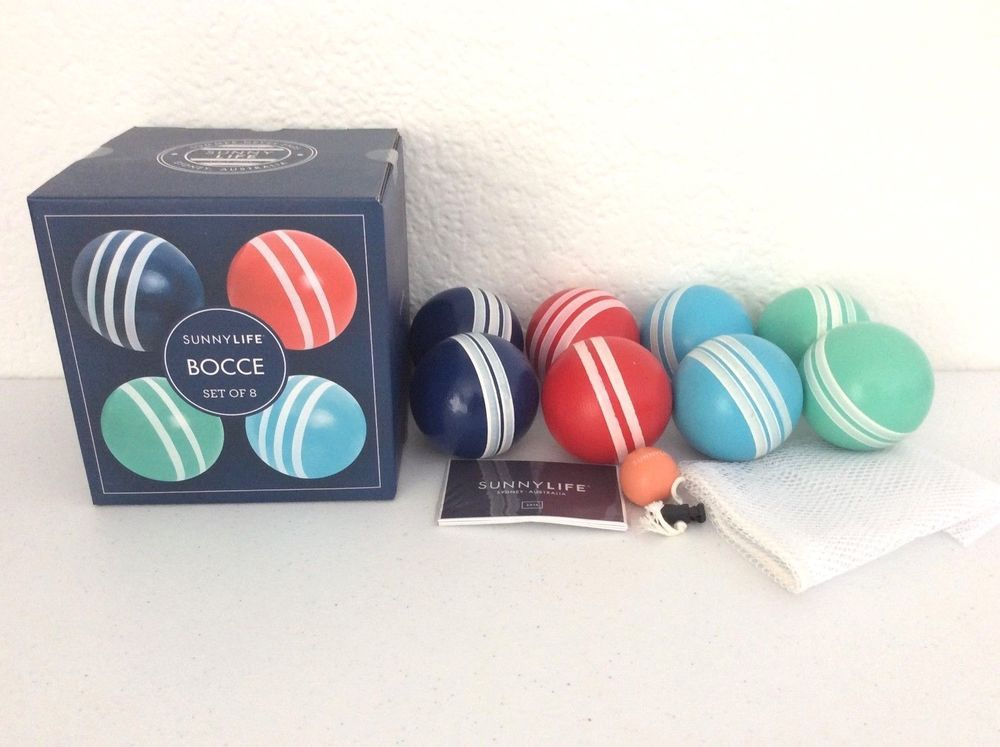 NEW! 4 Player Wooden Bocce 8 Ball Set 1 Pallino & Carry