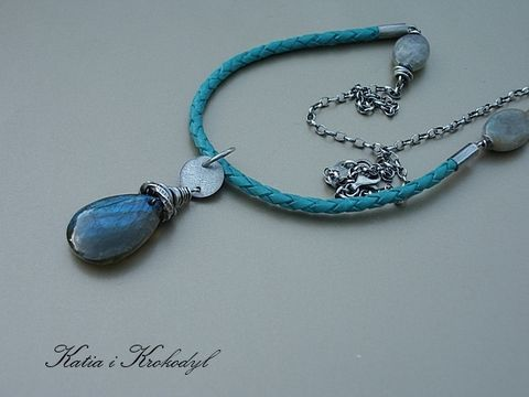Blue Teardrop | Silver Long Necklace With Leather And Labradorite