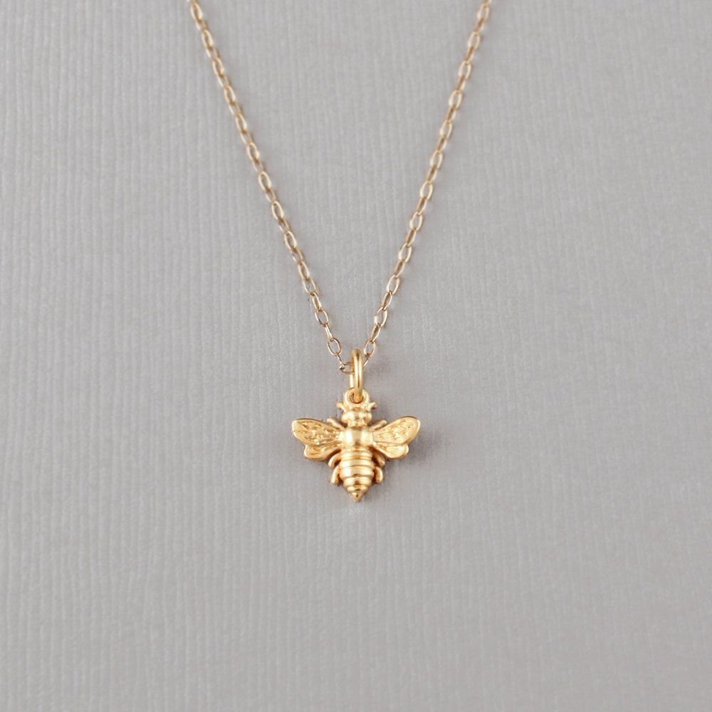 Little Gold Bee Necklace Acharmedimpression On Etsy Bee Necklace Bee Jewelry Star Charm Necklace