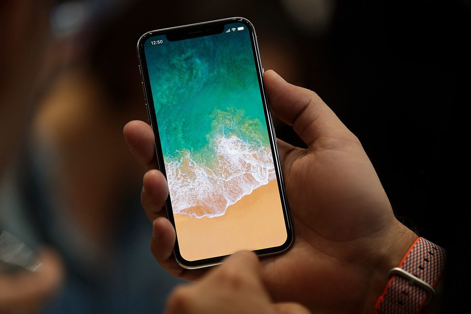 iPhone X with Status Bar in Hand Free Mockup (With images