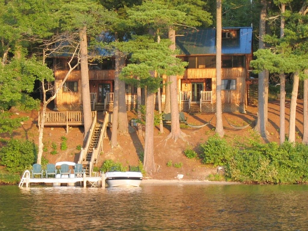 luxury with outdoor at private rental lakefront for enjoy chesterville cabins the stay maine your cabin log rent