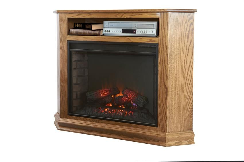 Amish Finchley Corner Fireplace Tv Stand Electric Fireplaces