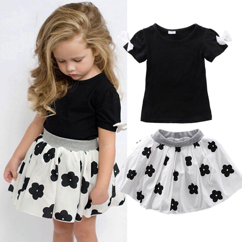 1f67cbe0e2 Flower Girls Kids Dress Short Sleeve Solid Shirt Tops+Skirts 2pcs ...