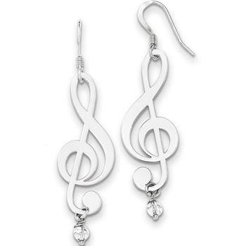 TREBLE CLEF misic note sterling silver wire dangle earrings women/'s earrings girls