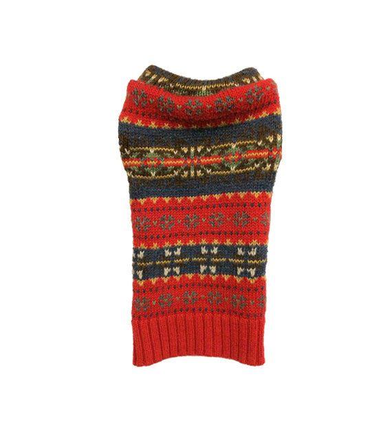 Designer Dog Sweater XX Small Red Fair Isle by MyFabulousPuppy ...