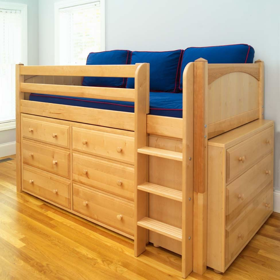 Low loft bed with stairs and storage  Love this because itus cute itus high which boys always love and