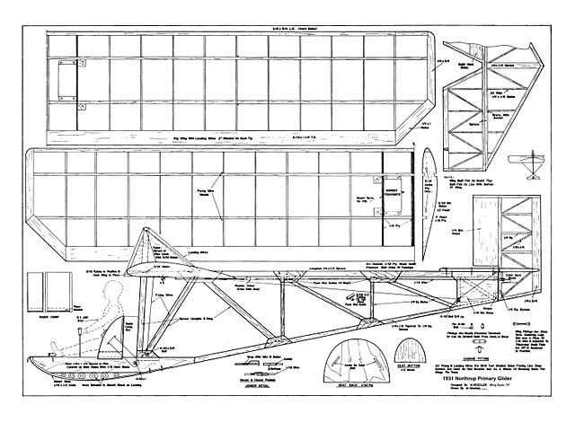 Northrup Primary Glider - plan thumbnail | plans | Gliders, Rc plane