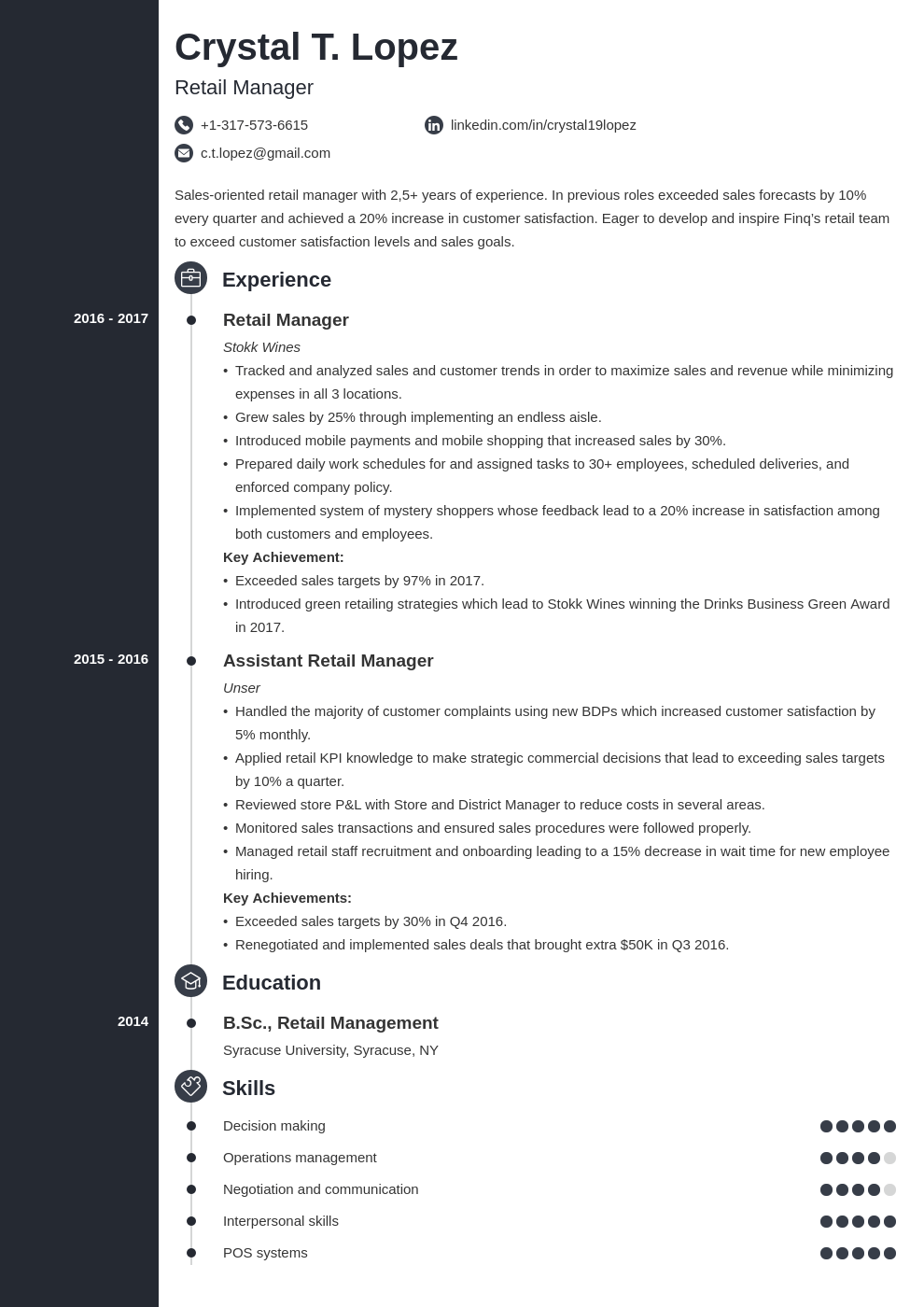 retail manager resume example template concept in 2020