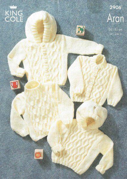 King Cole 2906 baby aran cardigan and jumper knitting pattern ...