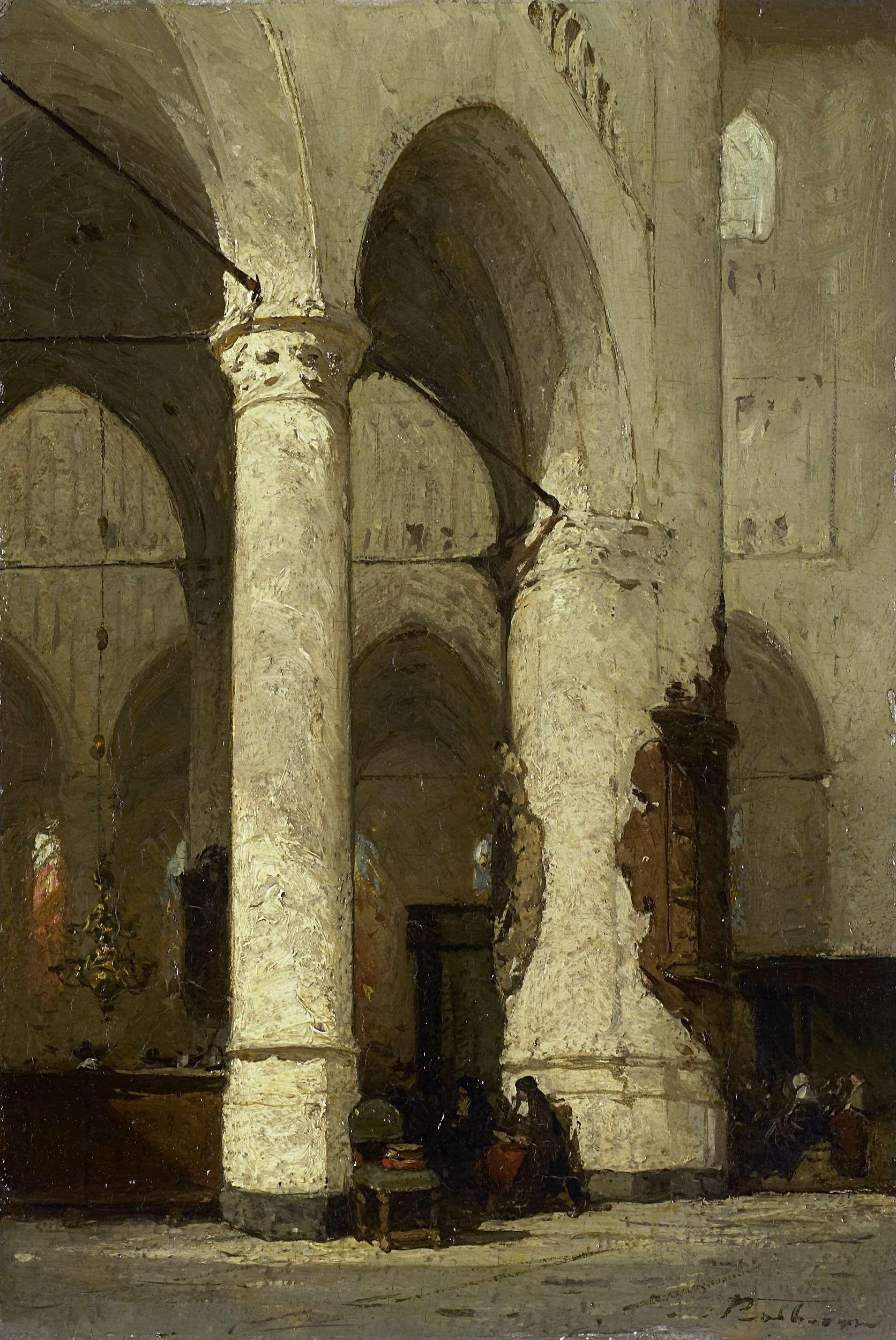 Johannes Bosboom   Interior of the 'Hooglandse' Church, Leiden, Johannes Bosboom, c. 1840 - c. 1891   Kerkinterieur. Interieur van de Hooglandsche Kerk te Leiden. Zittende figuren tussen de zuilen.