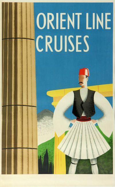 Original Vintage Poster Orient Line Cruises Greece Athens Evzones Travel Advertising Vintage Travel Posters Vintage Travel