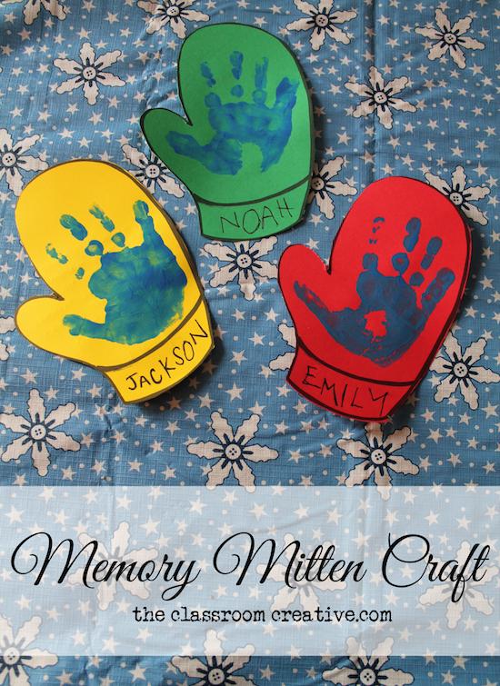 Memory Mitten Craft, Winter Craft Ideas for Kids from theclassroomcreative.com