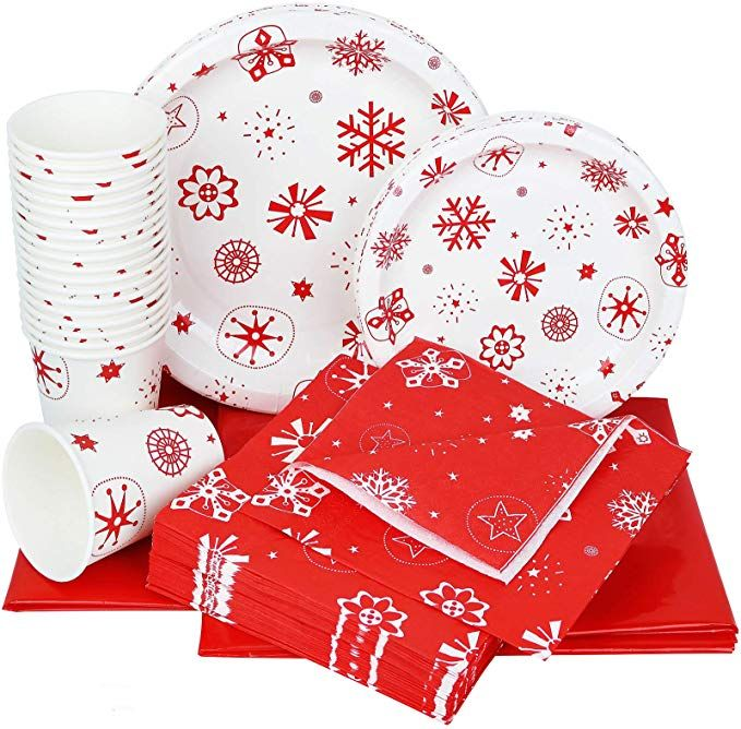 Christmas Paper Plates And Napkins.Galashield Christmas Disposable Dinnerware Set Supplies For