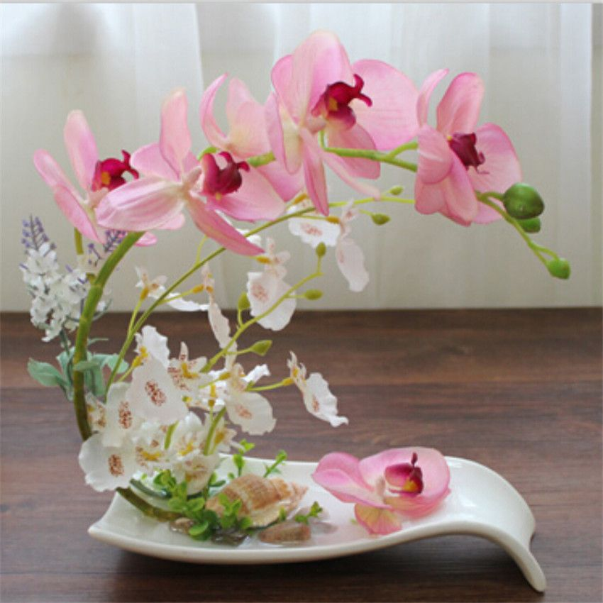 Phalaenopsis flores artificiales conjunto de moda bonsai - Adornos para mesa de comedor ...