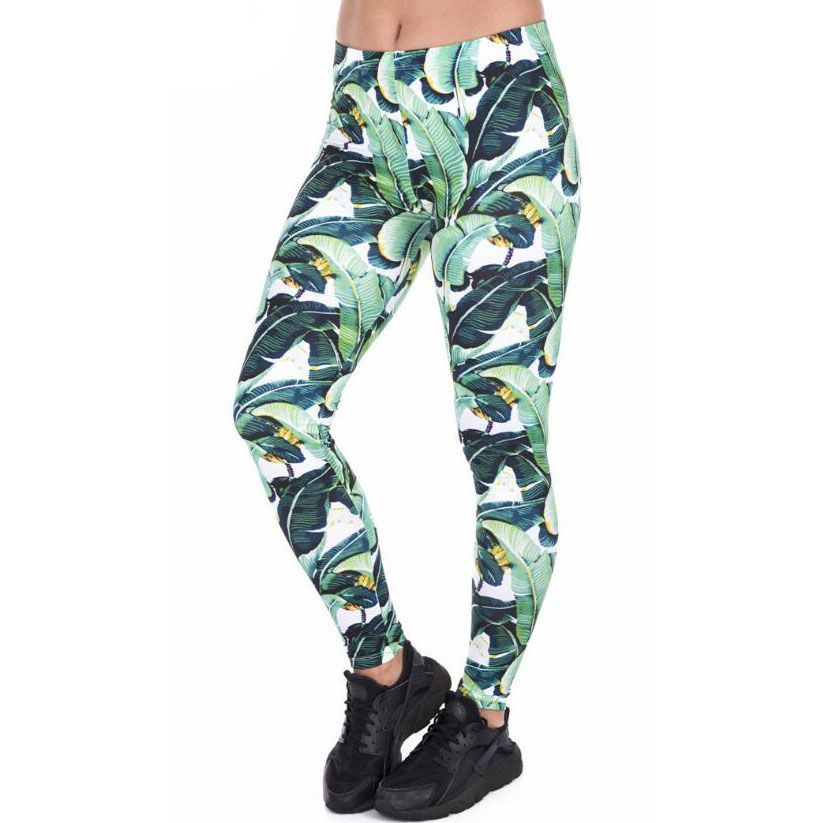 2018 Women Fashion Casual Fitness Tropical plant leaves Printed Leggings 2018 Women Fashion Casual F...